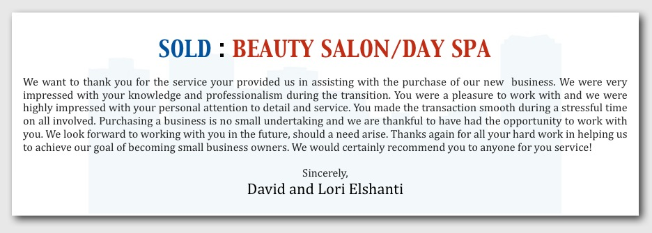 SOLD: Salon/Day Spa